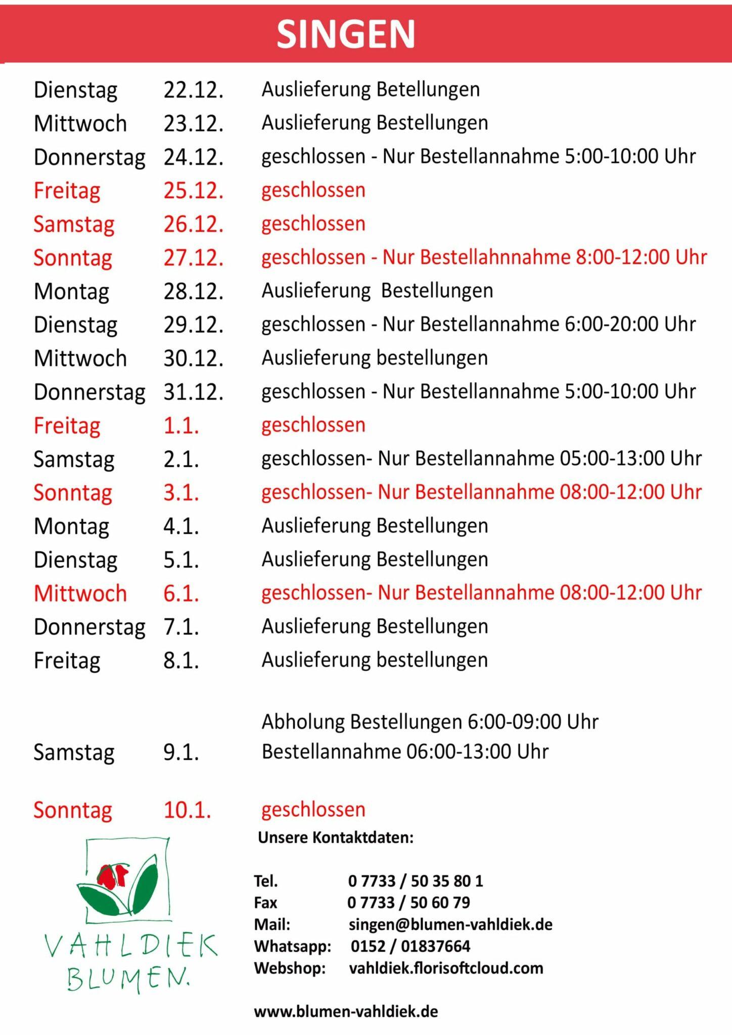 Öffnungszeiten Filialen   Vahldiek AG